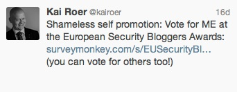 European Security Blogger Awards 2013 - a Thank You and an important tip (2/2)